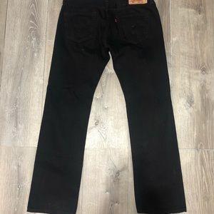 BLACK LEVIS 501 STRAIGHT LEG BUTTON FLY JEANS